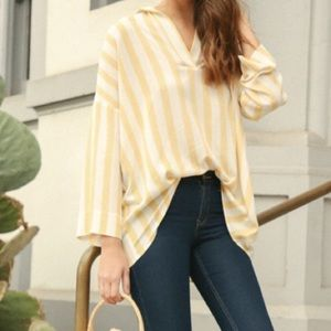 Umgee oversized yellow striped tunic top small